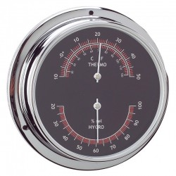 ANVI 120MM CHROOM THERMO - HYGROMETER BLACK
