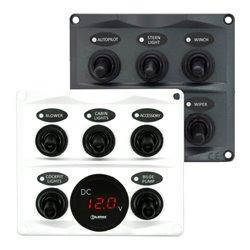 Schakelpaneel 12 - 24V 5 Schakelaars + Voltmeter